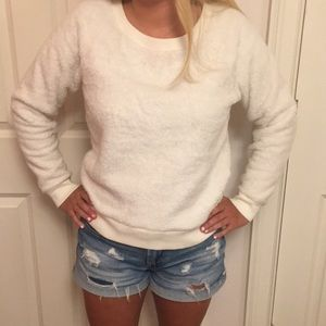 Cream Aerie furry crew neck sweatshirt